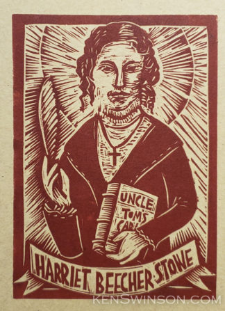 Linocut notecard of Harriett Beecher Stowe holding a quill and copy of Uncle Tom's Cabin
