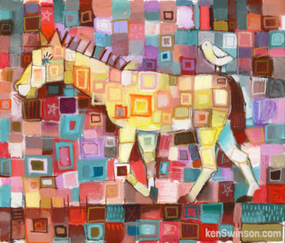 colorful abstract folk art style painting of horse with bird