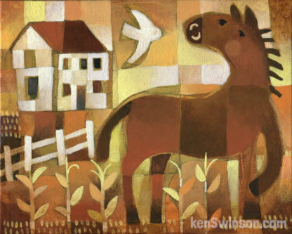 abstract folk art style painting of a horse in cornfield with bird and house yellow orange