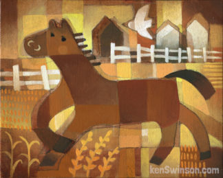 folk art style painting of horse in field with bird white buildings in the distance yellow orange