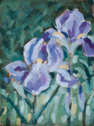plein air painting by ken swinson of purple irises
