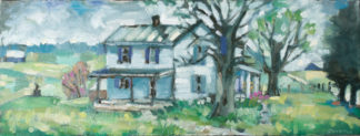 plein air painting of jim lally and jennifer gleason home at sunflower sundries in mt olivet kentucky