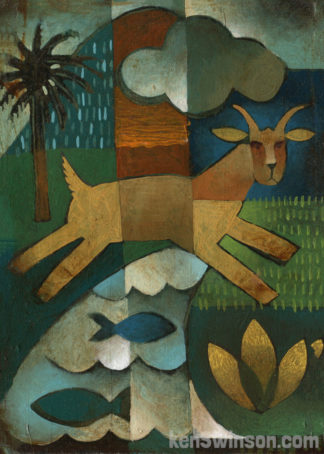abstract folk art style painting of a goat jumping over a creek with fish a palm tree and mountain is in the background