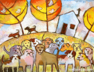 folk art style painting of many dogs in front of house