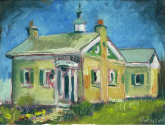plein air painting by ken swinson of the knolder library in augusta kentucky