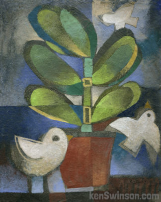 a folk art style painting of a potted plant with 2 birds in the forground