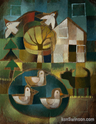folk art style painting of 3 ducks in a pond with dog at shore