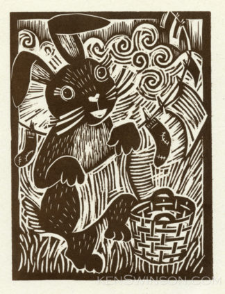 woodcut of rabbit hanging laundry on a clothesline
