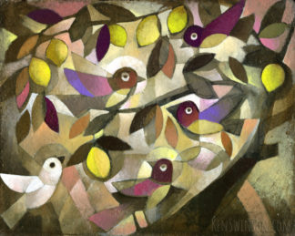 folk art abstract style painting of brown birds in a lemon tree