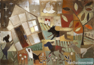folk art abstract style painting of dogs surrounding a house
