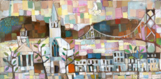 folk art style abstract painting of town by river with courthouse church bridge and row of houses