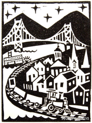 linocut block print of maysville kentucky. train, paddleboat bridge rivertown