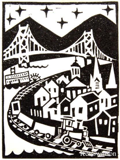 linocut block print of maysville kentucky. train, paddleboat bridge rivertown