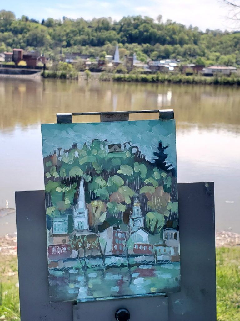 plein air painting of maysville kentucky from the view of the ohio river at aberdeen park ohio