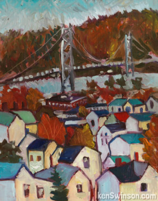 plein air folk art style painting of maysville kentucky river town with bridge in the background