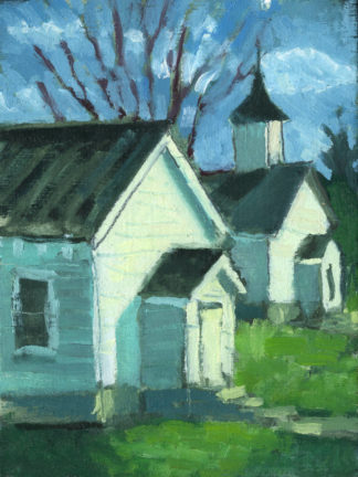 plein air painting of two churches in minerva kentucky by artist ken swinson