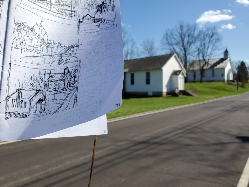 sketch of churches in minerva kentucky with photo of actual buildings in the background