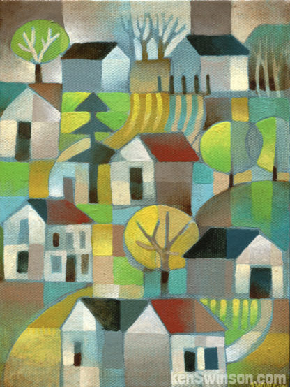 abstract folk art style painting of a country road going through misty hills with barns and houses