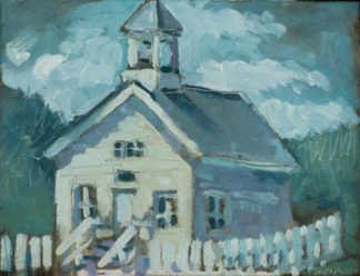 plein air painting of the moonlight school in morehead kentucky by artist ken swinson