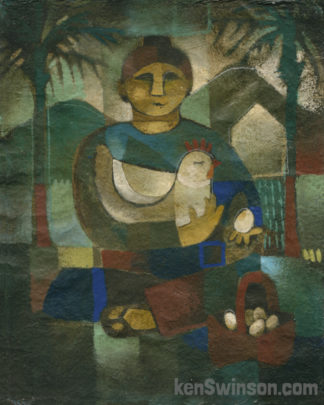 folk art style painting of a woman holding a chicken in one hand, and egg in the other