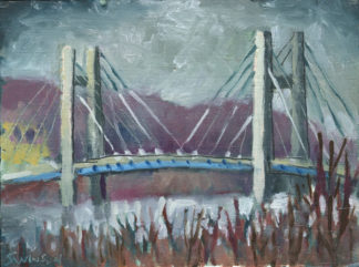 plein air painting of the new bridge across the ohio river near maysville kentucky by artist ken swinson