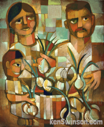 folk art abstract style painting of a man woman and child selling onions
