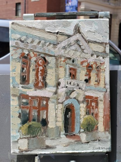 plein air painting of the washington opera house in maysville kentucky by artist ken swinson