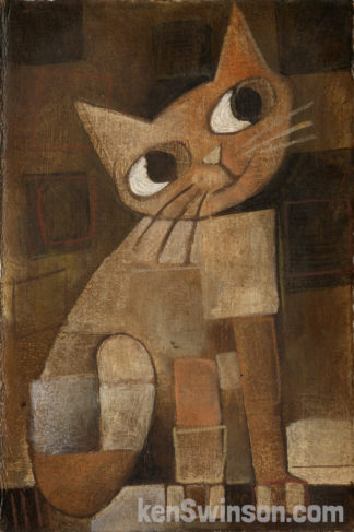folk art abstract style painting of orange cat brown