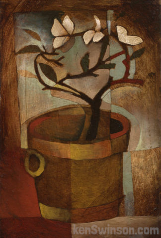 folk art abstract style painting of an orchid type plant in a clay pot