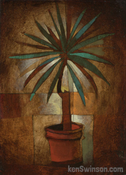 abstract folk art style painting of a palm tree in a clay pot