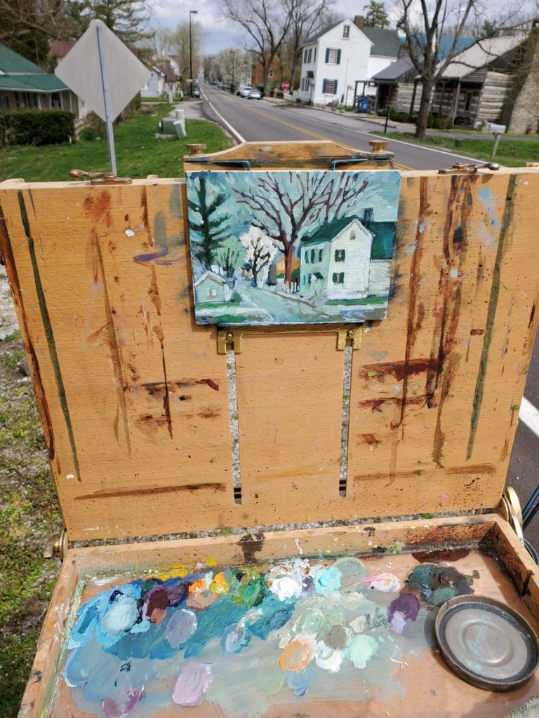 plein air painting of white building in old washington kentucky by artist ken swinson