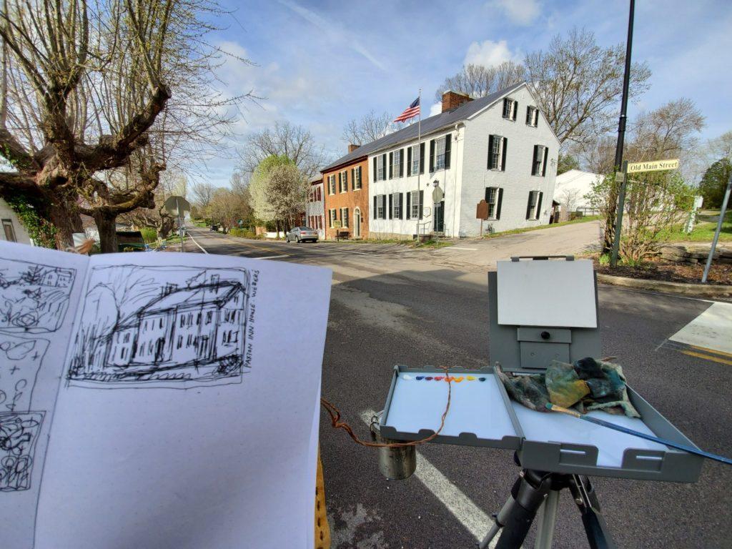 sketch of paxton inn in old washington kentucky by artist ken swinson