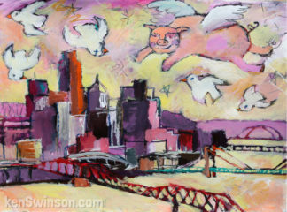 folk art style painting of a pig flying over cincinnati's skyline