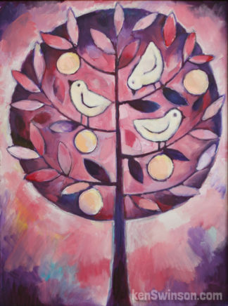 folk art style painting of purple tree with fruit and birds