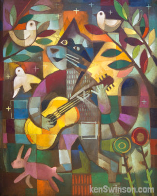 folk art style painting of a raccoon playing the guitar