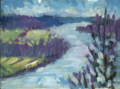 plein air painting of the view of the ohio river from the rankin house in ripley ohio