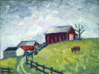plein air painting of a red barn in mason county kentucky by artist ken swinson