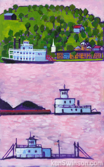 folk art style painting of a paddleboat coal barge and ferry on the ohio river with augusta kentucky in the background