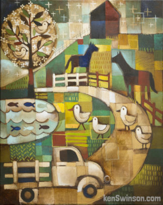 folk art abstract style painting of ducks blocking traffic to go to a lake
