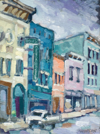 plein air painting of the rohs theater in cynthiana kentucky