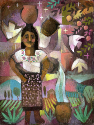 abstract folk art style painting of a girl in traditional mexican clothes balancing a pot on her head, also using it to pour water. a landscape is in the background