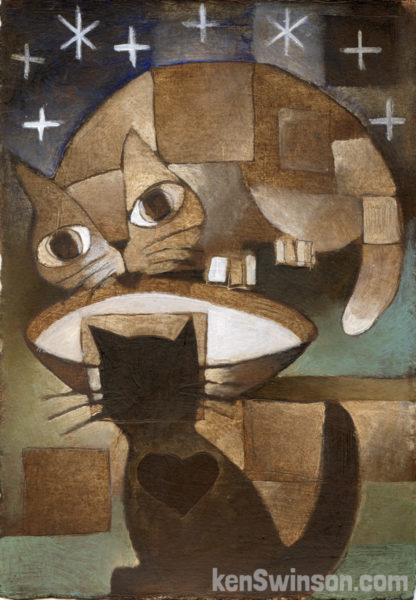 folk art abstract style painting of two cats sharing a bowl of milk