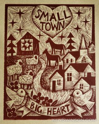 linocut of path from village to barn with quilt. illustrated with sheep horses and birds, and the text: small town big heart