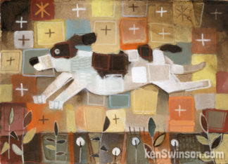 folk art style painting of a springer spaniel dog