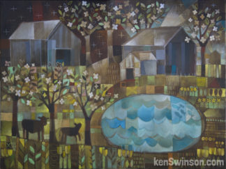 abstract folk art style painting of 2 cows going to a lake with barns and flowering trees in the background