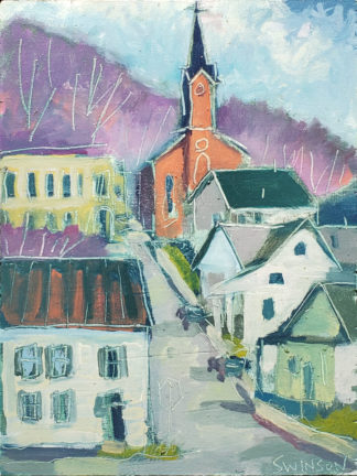 plein air painting of st michaels church in ripley ohio by artist ken swinson
