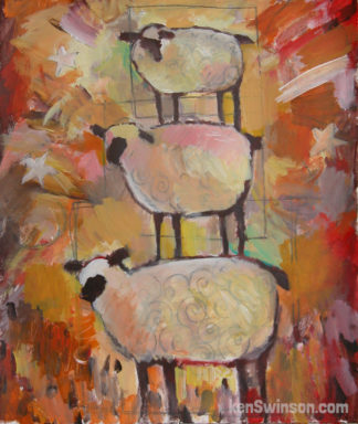 folk art style painting of 3 sheep standing on top of each other