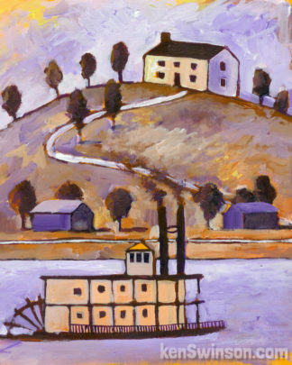 folk art style painting of a tallstack paddleboat on the ohio river with a hill and house in the background