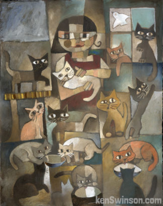 abstract folk art style painting of lady surrounded by lots of cats