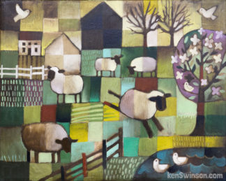folk art style painting of sheep jumping over fence lake ducks